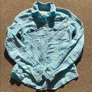 American Eagle Blue and Green Plaid Button-Up